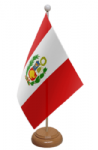 Peru Desk / Table Flag with wooden stand and base